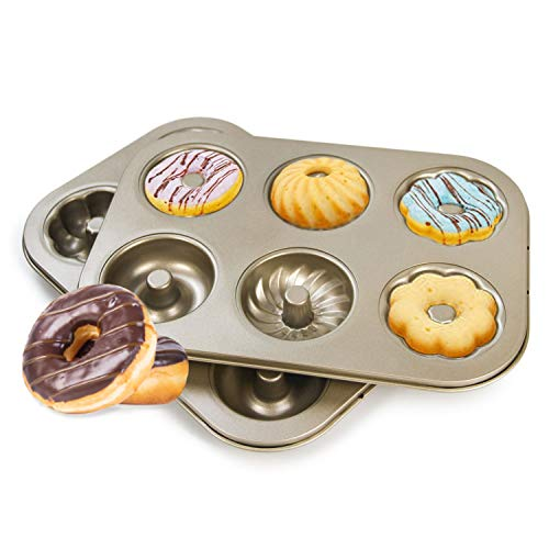 Magicwolf Donut Mold Cake Pan 2 pack Doughnut Baking Pans Carbon Steel Non-Stick for Bakeware Oven…
