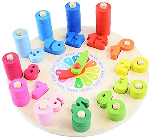 Forma de madera de la clasificación por color Reloj Relojes de aprendizaje tiempo de aprendizaje Número bloquea los juguetes educativos for los niños de las muchachas y niñas rompecabezas for niños co
