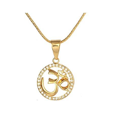 18K Gold Om Crystal Necklace