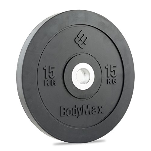 Bodymax Olympic Rubber Bumper Weight Disc Plate - Black 15kg