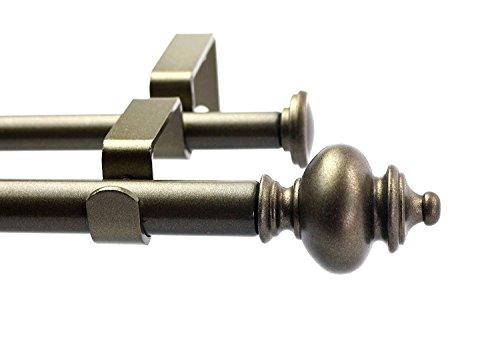 "Urbanest Round Urn Adjustable Double Drapery Curtain Rod Set, 5/8"", 48""-84"", Antique Gold"