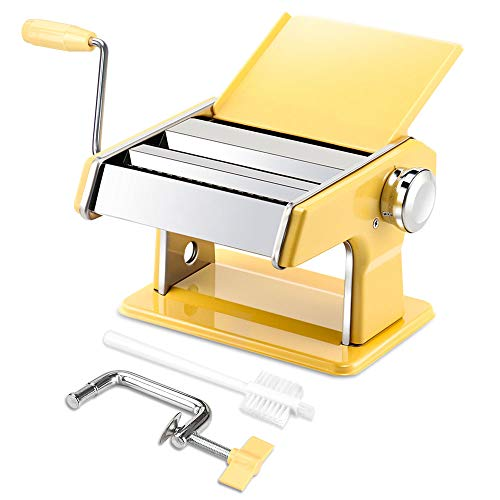 elabo Pasta Machine - Stainless Steel Roller Pasta Maker - 7 Adjustable Thickness Settings Noodles Maker with Hand Crank, Perfect for Spaghetti, Fettuccini, Lasagna or Dumpling Skins