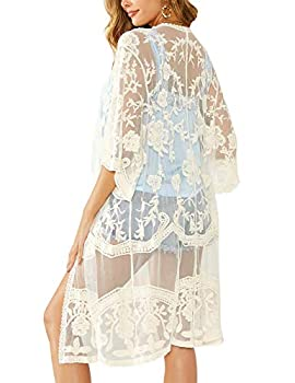 Womens Lace Open Front Cardigans 3/4 Sleeves Long Kimono Lightweight Cover Up Apricot