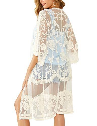 iWoo - Cárdigan kimono sexi para mujer, largo, para proteger del sol en la playa, de encaje floral estilo crochet para cubrirse en la playa. A-Beige Talla única