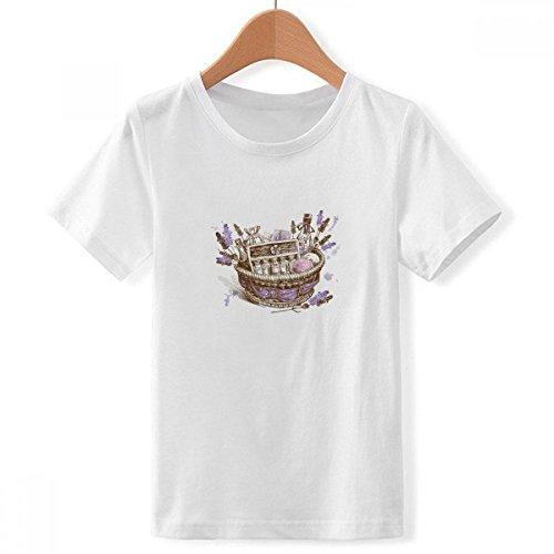 Doe-het-zelf jongen bloemen plant schilderij geschenk lavendel mand met ronde hals wit T-shirt