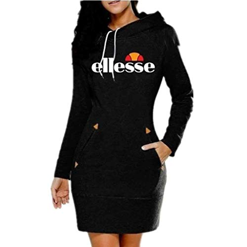 Kapuzenpullover Damen Hoodie Damen Langarm Sweatshirt Damen Langarm Hoodies Casual Herbst Kleid,Schwarz,XL