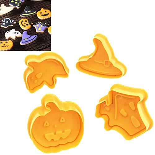 Masrin 4 Teile/Satz Halloween Keks Ausstecher Keksform Kuchen Dekorieren Tool (Gelb)