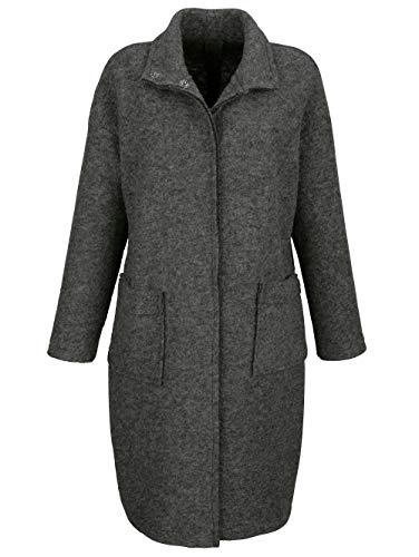 Alba Moda Damen Kurzmantel mit Stehkragen in Grau aus Schafswolle in Trendiger Kochwolloptik
