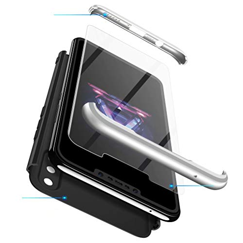 MISSDU kompatibel mit Premium Hart PC 360 Grad Hülle Huawei Nova 3i/ P Smart+ Hülle + Panzerglas,3 in1 Handytasche Handyhülle Schutzhülle Cover - Blau - 5