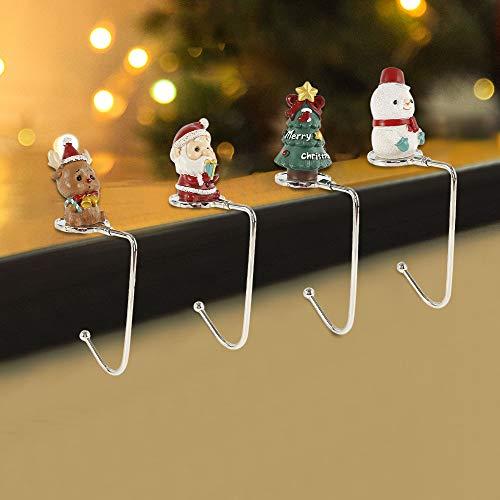 camouflage net 4PCS Weihnachten Haken, Weihnachtsstrumpf Halter, Weihnachtsschmuck, Dekohaken für Kamin Kinderzimmer Wohnenzimmer