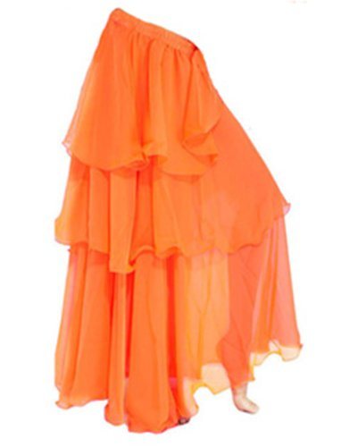A-Express Orange Tribal Bauchtanz Rock Tanzrock Chiffon Maxi DREI Schicht Karneval Verrücktes Kleid