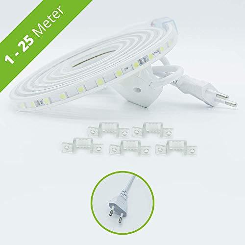 HAGEMANN® LED Streifen mit Stecker – IP65 5050 Lichtleiste – LED Strip 230V (1 Meter, warmweiß)