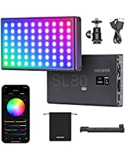 Neewer SL80-APP Pocket RGB Video Light with App Control, Built-in 4150mAh Rechargeable Battery, 360° Full Color, 9 Light Effects, 3200K–8500K LED Video Light for Gaming, YouTube, Vlog, and Photography