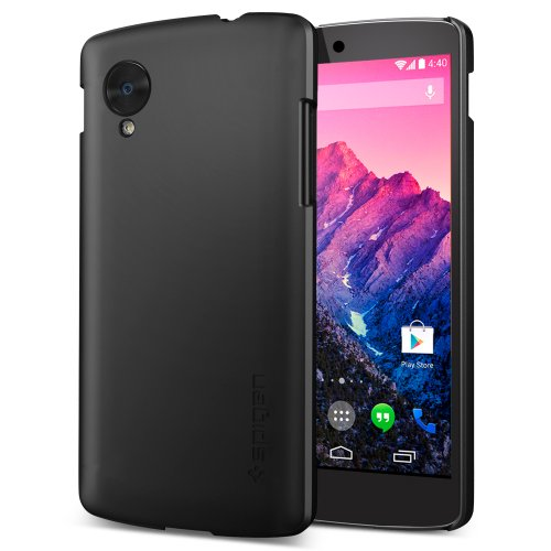 Spigen Ultra Fit Nexus 5 Case with Screen Protector Included and Premium Finish Coating for Nexus 5 2013 - Smooth Black