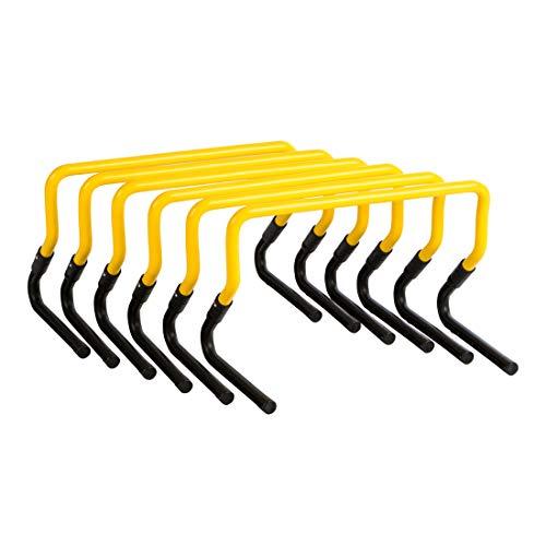 zoomyo Peak Power Koordinationshürden/Koordinationsleiter/Koordinationshüttchen, Hürdenset für Profitraining, Geschwindigkeitsleiter auch für Kinder und Hunde, schwarz/gelb (Koordinationshürden)