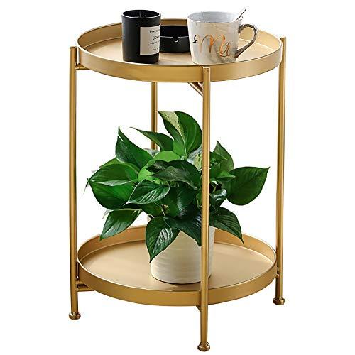 Mesa auxiliar redonda Mesa de Centro con estructura de metal mesa de café para salón dormitorio oficina Diámetro dorado 40X51.5 alto,Oro