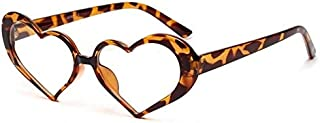 Trend Fashion Heart Sunglasses for Women Cute Heart Glasses Frame Female Transparent Eyeglasses Leopard Classic good looking (Color : Clear)
