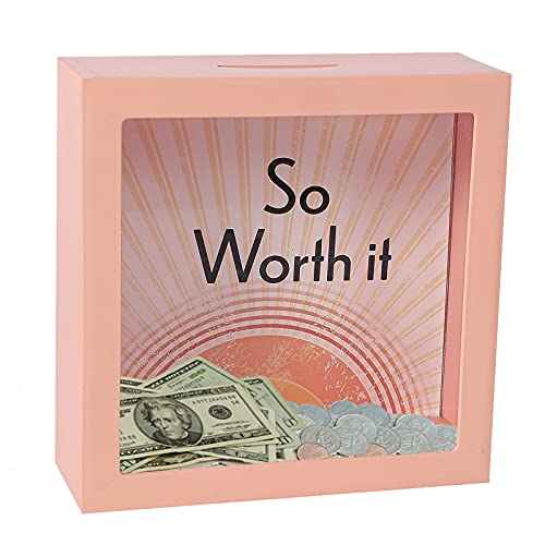 TFer Piggy Money Bank Coin Bank for Adults,Girls,Boys,Kids   Clear Glass Plastic Money Jar Tip Jar Saving Box Must Break to Open for Child Travel Vacation Fund Bank Box (Pink)