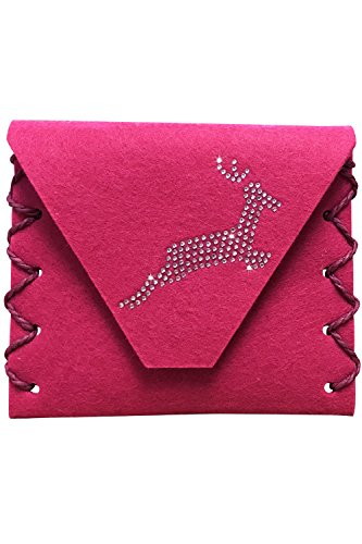 Edelnice Trachtenmode Handgearbeitete Dirndl Clutch Geldbörse aus Filz für die Dirndlschürze pink mit silber Swarovski Hirsch