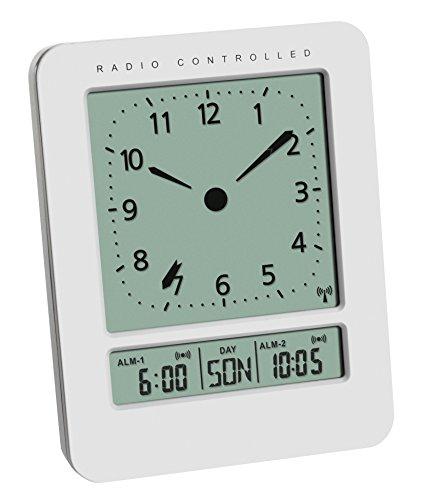 TFA Dostmann Digitaler Funk-Wecker mit analogem Zifferblatt und Temperatur, Kunststoff, Weiß, (L) 72 x (B) 45 x (H) 93 mm