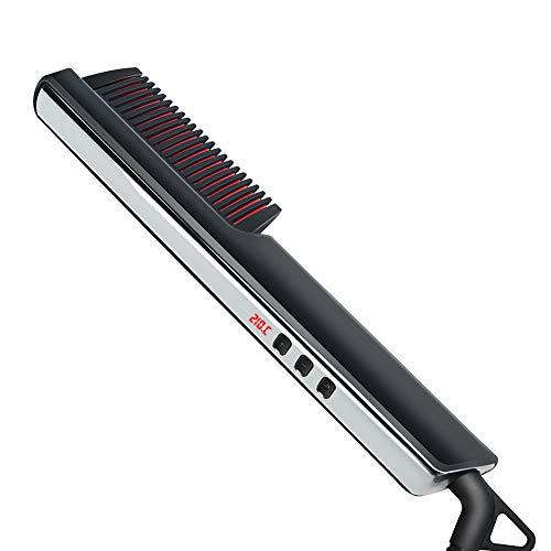 CYYMY Nuevo Cepillo Alisador de Barba con Peine de Pelo Liso LCD, Cepillo Barba Electrico Plancha de Pelo Flequillo Eléctrico Profesional Peine de Peluquería Multifuncional Cepillo