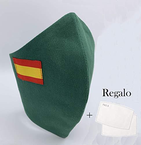 Pack 2 unidades de algodon color verde con bandera de España