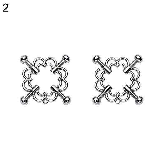 ZKO Einstellbarer Clip Mit Fadenmuster Und Glocke, Piercing-Ring (Nicht Für Den Körper), Nippelclip Aus Metall Und Edelstahl(B)