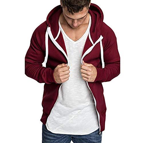 Xmiral Herren Hoodie Winter Jacke Einfarbig Reißverschluss Langarm Kapuzenpullover Mantel mit Taschen(Rot,XL)