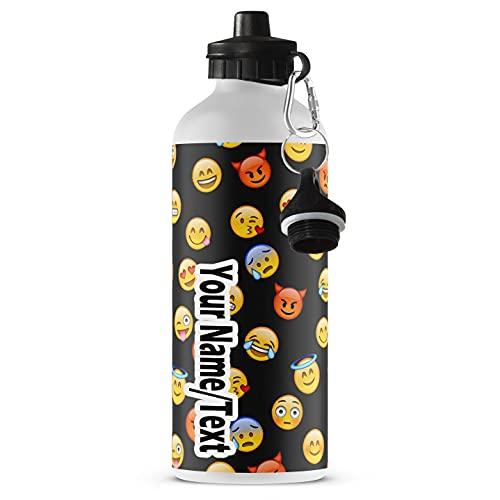 Botella de Agua Personalizada de Aluminio Printtoo Niño Guepardo Bebé Imprimir Botella Deportiva Personalizada Niños con Mosquetón con Nombre Emoji [110]