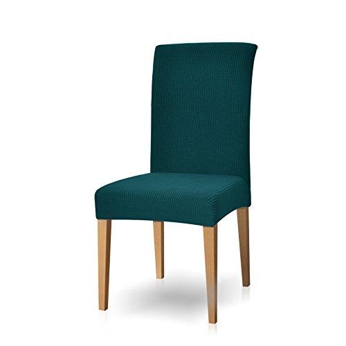 subrtex Stuhlhussen Stretch Stuhlhusse 4er Set 2er Set Bi-elastische Moderne Beschützer Stuhlhussen für Stühle Schwingstühle Waschbar (2 Stück, Petrol Blau)