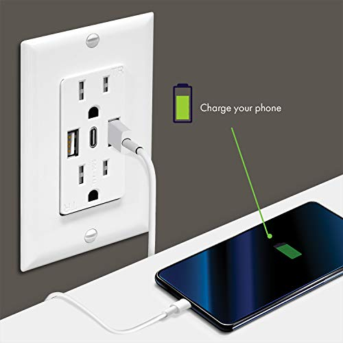TOPGREENER 5.8A Ultra High Speed USB Type-C/A Wall Outlet, 15A Tamper-Resistant Receptacles, Compatible with iPhone SE/11/XS/XR/X, Samsung Galaxy S20/S10/S9/Note & More, UL Listed, TU21558AC3, 2 Pack