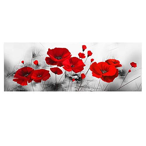 LQKYWNA Hogar Moderno Fondo Gris Flor Roja Giclee Impresiones En Lienzo Mural Decoración Cartel Sala De Estar Imagen para Decoración De La Casa Decoración De La Pared (50 * 150cm)