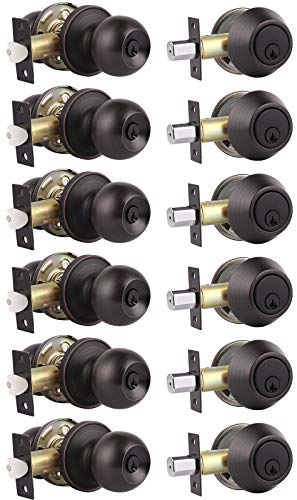 6 Pack Keyed Alike Entry Door Knobs and Single Cylinder Deadbolt Lock Combo Set Security for Entrance and Front Door with Classic Oil Rubbed Bronze Finish