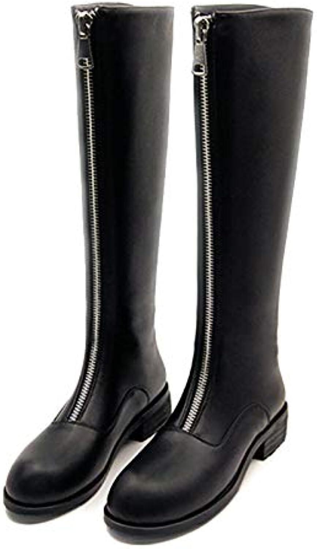 Shukun Stiefeletten Herbst und Winter dick mit dünnen Beinen gerade Stiefel reiverschluss Flache unter Stiefel weibliche Reiter Stiefel hohe Stiefel
