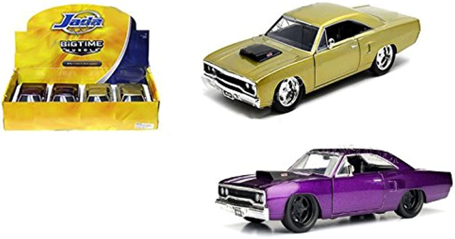 Jada 1 24 DISPLAY WITHOUT WINDOW BOX  BIG TIME MUSCLE  1970 PLYMOUTH ROAD RUNNER 2PCS 98243DP1  NO RETAIL BOX