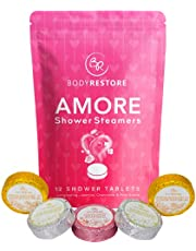BodyRestore Shower Steamers (Pack of 12) Gifts for Women and Men - Jasmine, Chamomile, Rose Essential Oil Scented Amore Tablets, Aromatherapy, Relaxation Shower Tablets - Gift for Mom & Couples