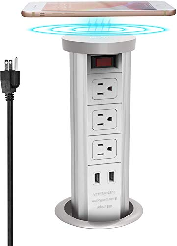 Automatic Raising Type Pop up Outlet Hidden Recessed Surge Protector Power Strip 10W Wireless Charger Socket with 4.2A USB Quick Charging Stations and 3 AC Outlets for Kitchen Island,Ofiice,White