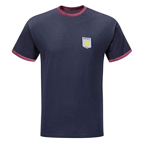 Aston Villa Herren Ringer Crew Neck T-Shirt, Herren, Marineblau/Weinrot, Small