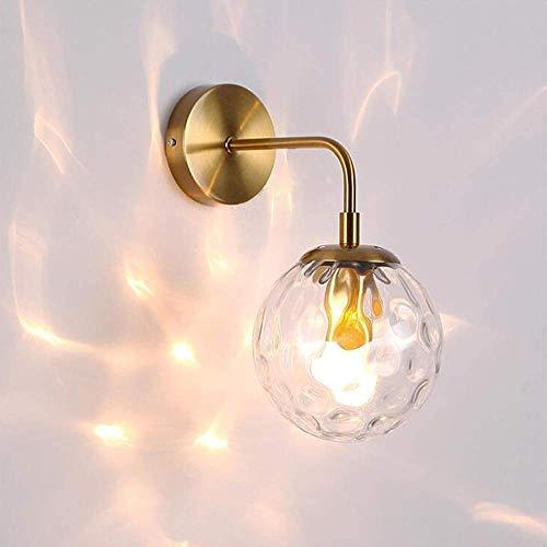 BJClight Lámpara de pared para interiores, portalámparas de pared simple con pantalla de bola de vidrio de grano de agua, lámpara de pared moderna de metal E27, aplique de pared industrial Gol