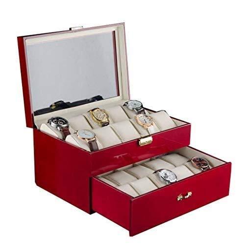 Caja de reloj para mujer, caja de regalo, con parte superior de cristal y almohadas de terciopelo