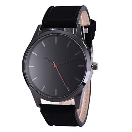 MOHAN88 Kein Kalender Matte Belt Herrenuhr Herrenmode Business Big Round Luxus Elegante Uhr Lederarmband Quarz Sportuhr - Black Face Black Belt