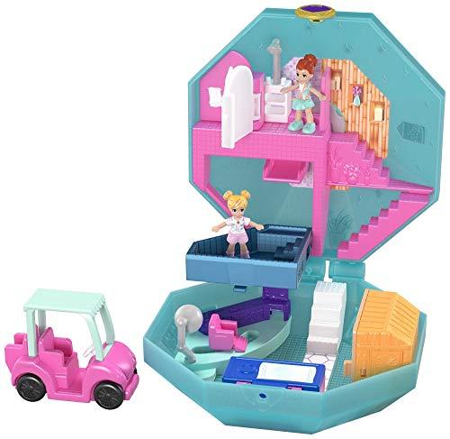 Polly Pocket Coffret Univers Journée au Spa, 2 mini-figurines, accessoires, autocollants et surprises cachées, jouet enfant, édition 2019, GDK81