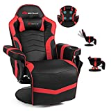 POWERSTONE Gaming Recliner Massage Sofa Ergonomic PU Leather Gaming Chair with Footrest Cup Holder Headrest and Side Pouch, Living Room Chair Home Theater Seating (Red)
