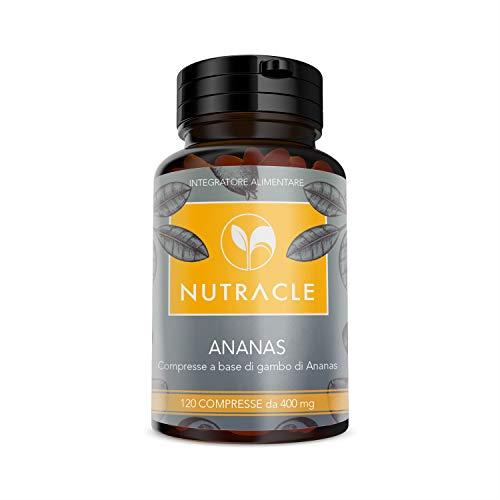 NUTRACLE Ananas (Bromelina) 120 compresse da 400mg, Ricca di Bromelina - Aiuta la digestione, le infiammazioni muscolari, il microcircolo e combatte inestetismi della cellulite (1 Confezione)