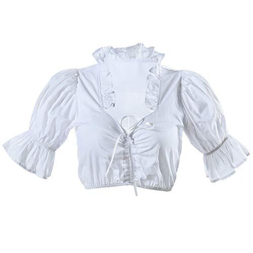 HBBMAGIC Dirndlbluse Damen Weiß Dirndl Bluse Spitze Trachtenbluse für Oktoberfest Größe 32-42 (Weiß 1002, 40)