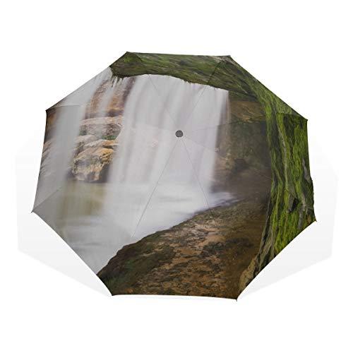 Reiseschirm Spektakuläre Klippen Und Wasserfälle Anti Uv Compact 3-Fach Kunst Leichte Faltschirme (Außendruck) Winddicht Regen Sonnenschutzschirme Für Frauen Mädchen Kinder