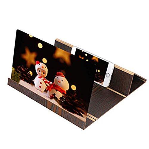 WOAIWOJIA 12 '' HD-beeldschermloep smartphone-loep, anti-straling groter scherm voor mobiele telefoons, film- videobeeldschermversterker met houtnerf staan stabiele clip