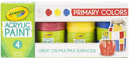 Crayola Acrylic Paint Set, Primary Colors, Painting Supplies, 4ct