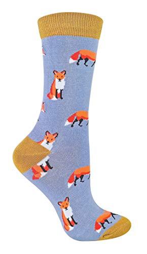 Miss Sparrow - Damen Socken mit Tieremotiv   Lustig Bambus Socken mit Bunt Animal Muster für Erwachsene (37-40, Fuchs)