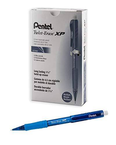 Pentel Twist Erase EXPRESS Automatic Pencil, 0.7mm Lead Size, Blue Barrel, Box of 12 (QE417C)